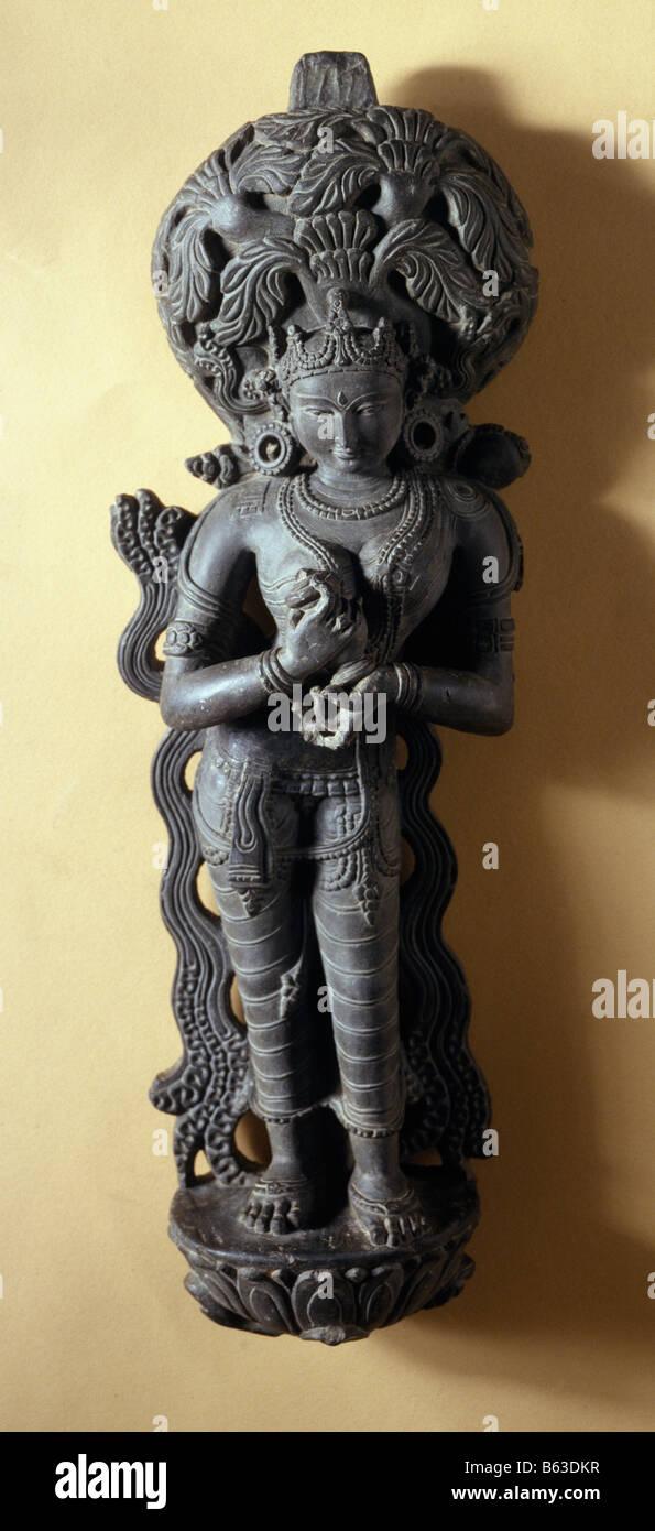 Diosa del río Ganga stone Mahanad Bengal siglo XII dinastía Sena. Museo Nacional de Nueva Delhi India Imagen De Stock