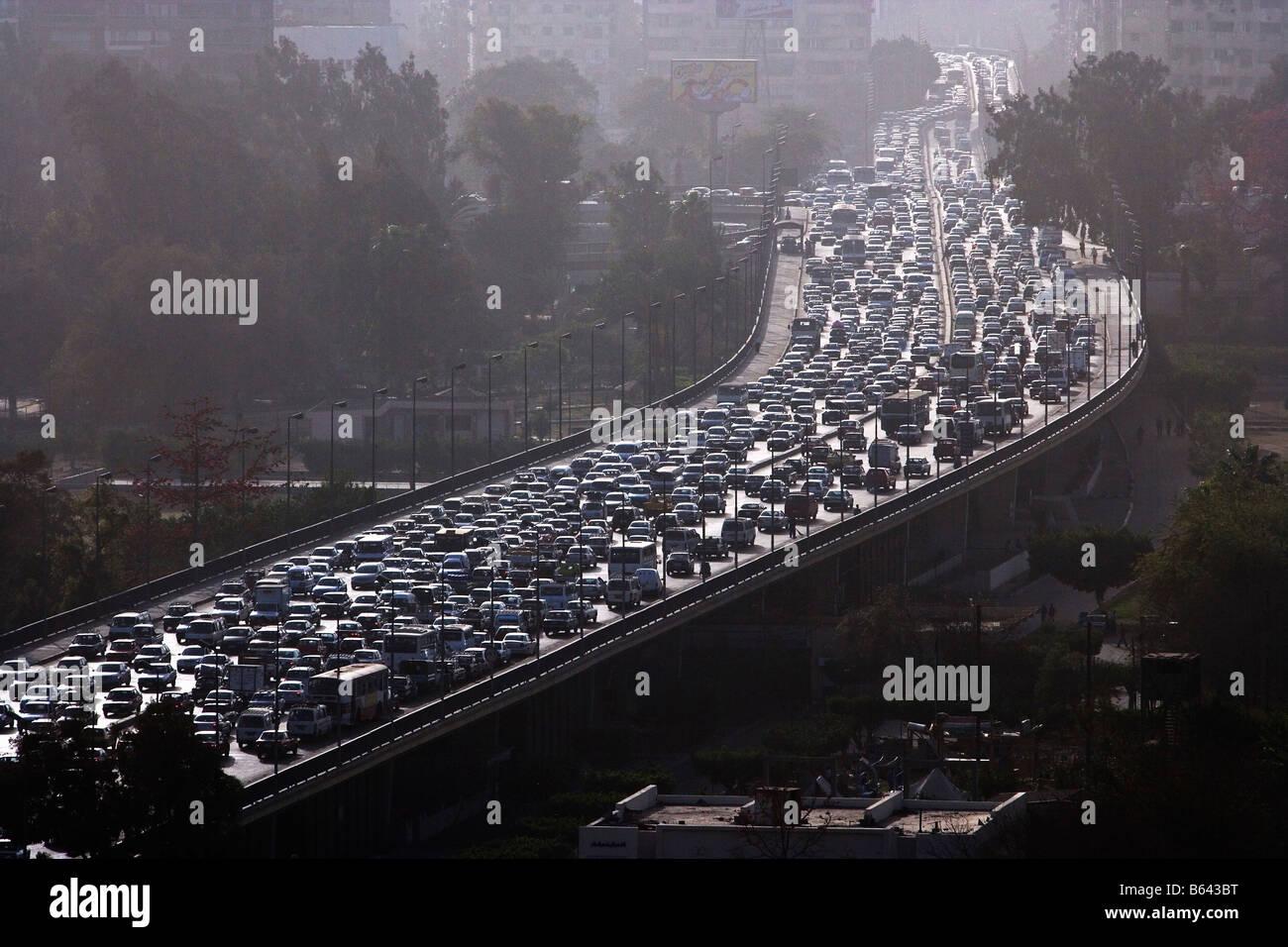 Egipto, El Cairo, atasco de tráfico. Imagen De Stock