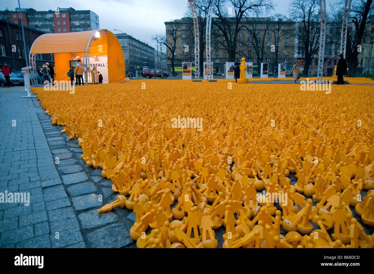 Conferencia de la ONU sobre cambio climático en Poznan, Polonia, 2008. Exposición en el centro de la ciudad Imagen De Stock