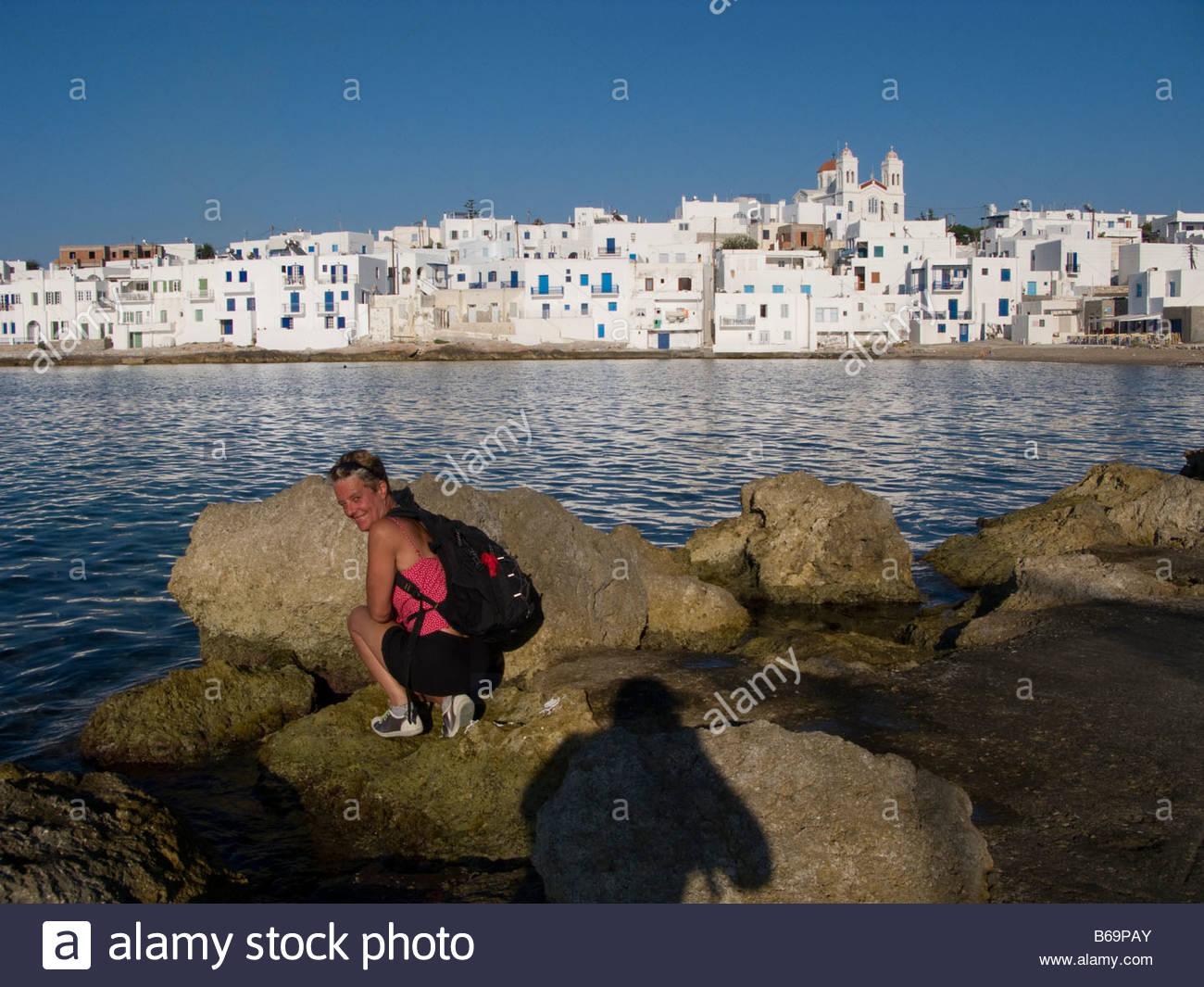 Ciudad Pesquera de Naoussau en isla de Paros, Cyclades, Grecia Foto de stock