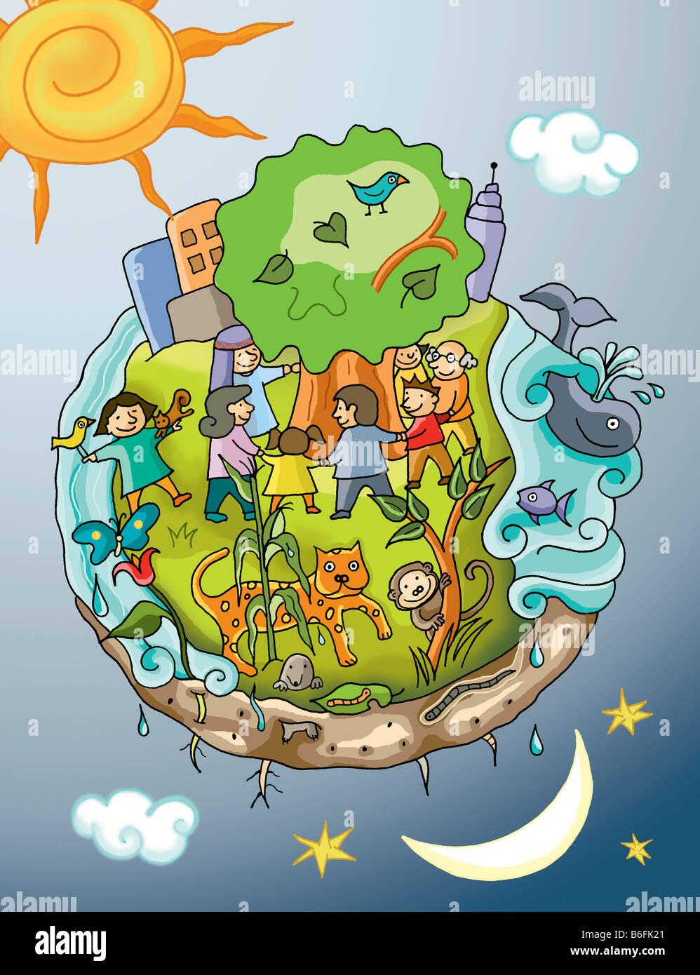 Ilustración mundo y medio ambiente Imagen De Stock
