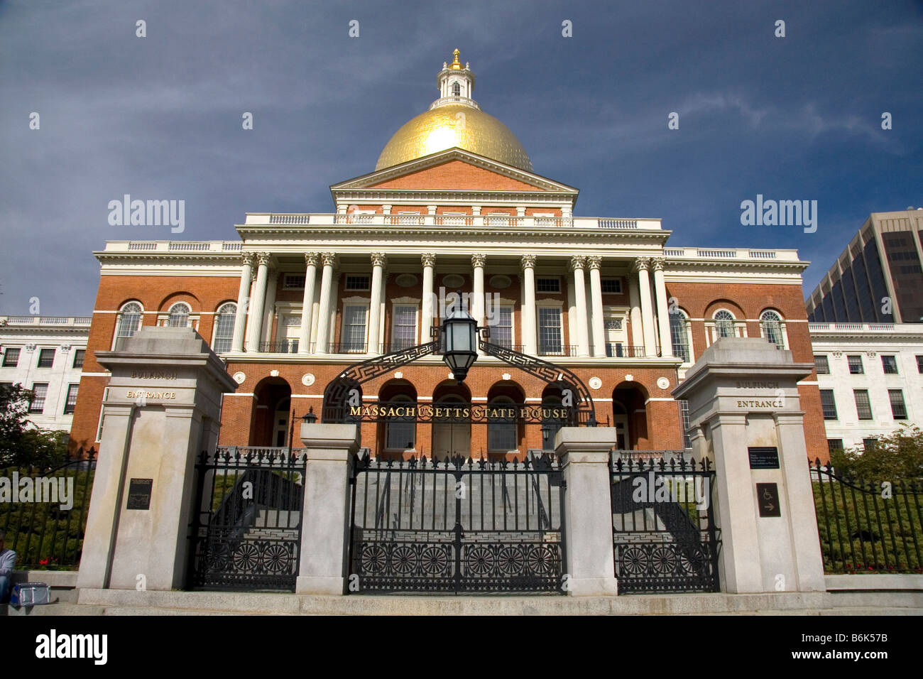 El estado de Massachusetts Casa situada en el barrio de Beacon Hill, Boston, Massachusetts EE.UU. Imagen De Stock