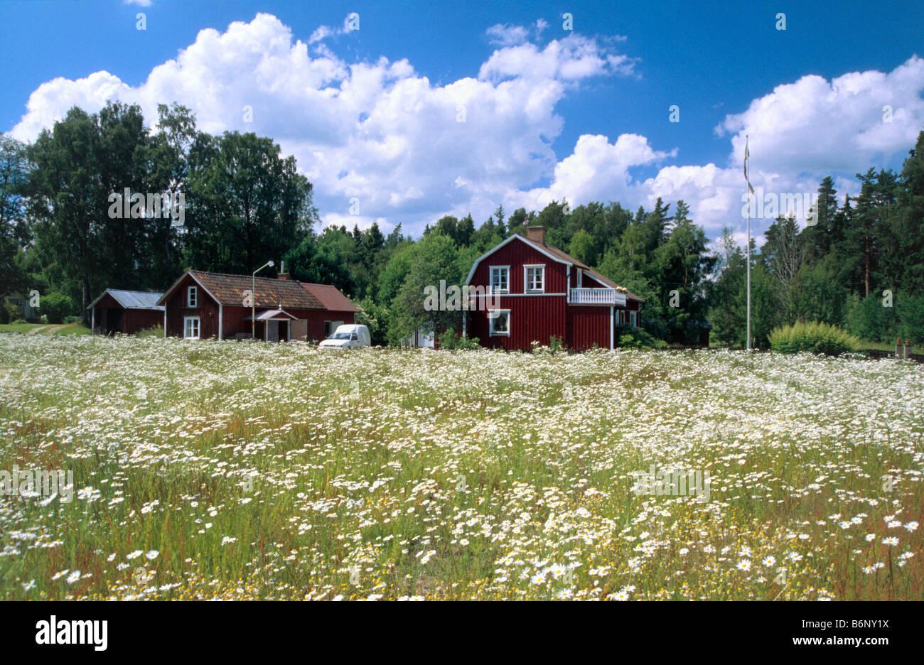 Casa típica de Suecia Västergötland, Suecia Foto de stock