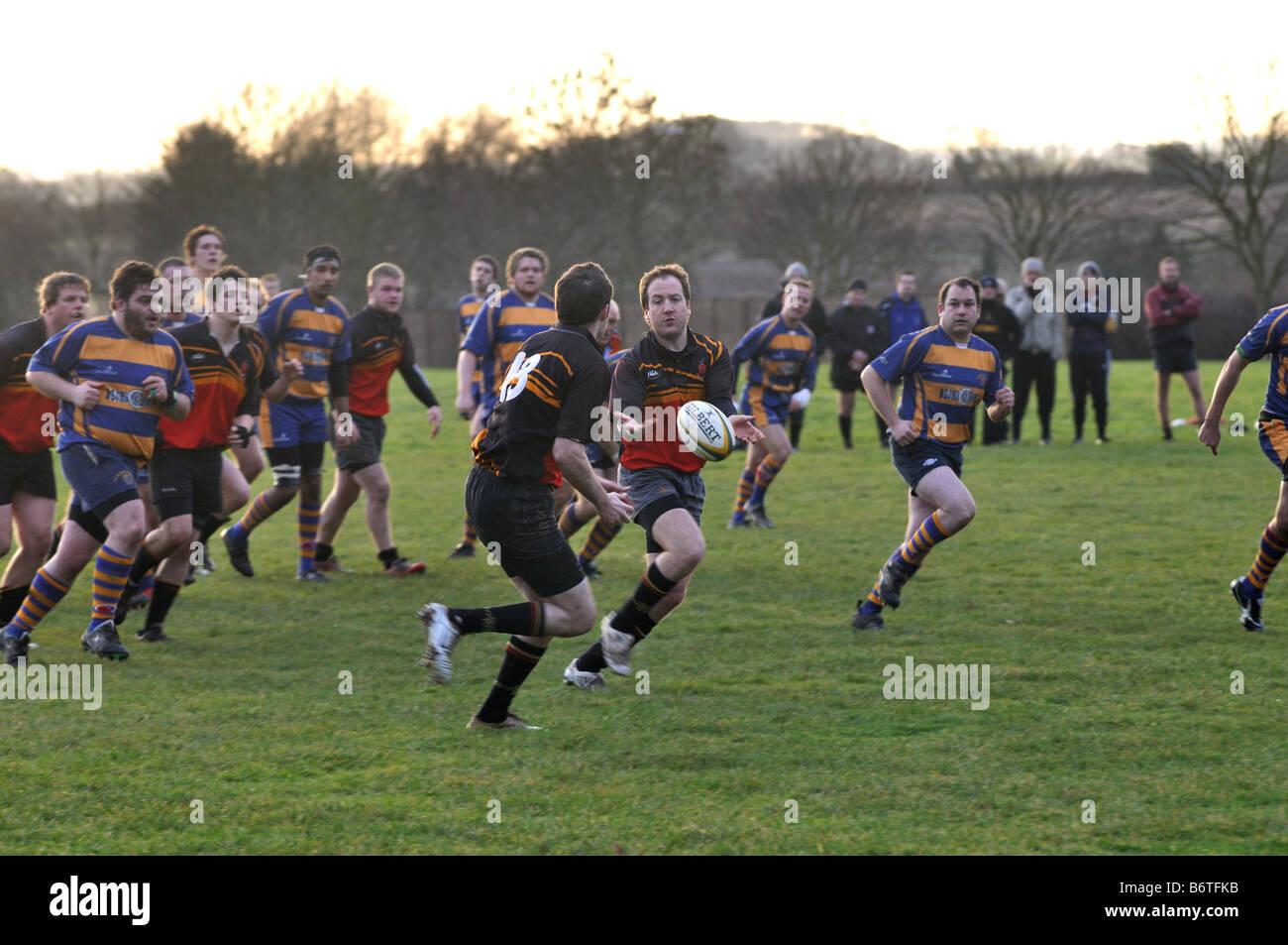 Rugby a nivel de club, en Leamington Spa, Inglaterra, Reino Unido. Imagen De Stock