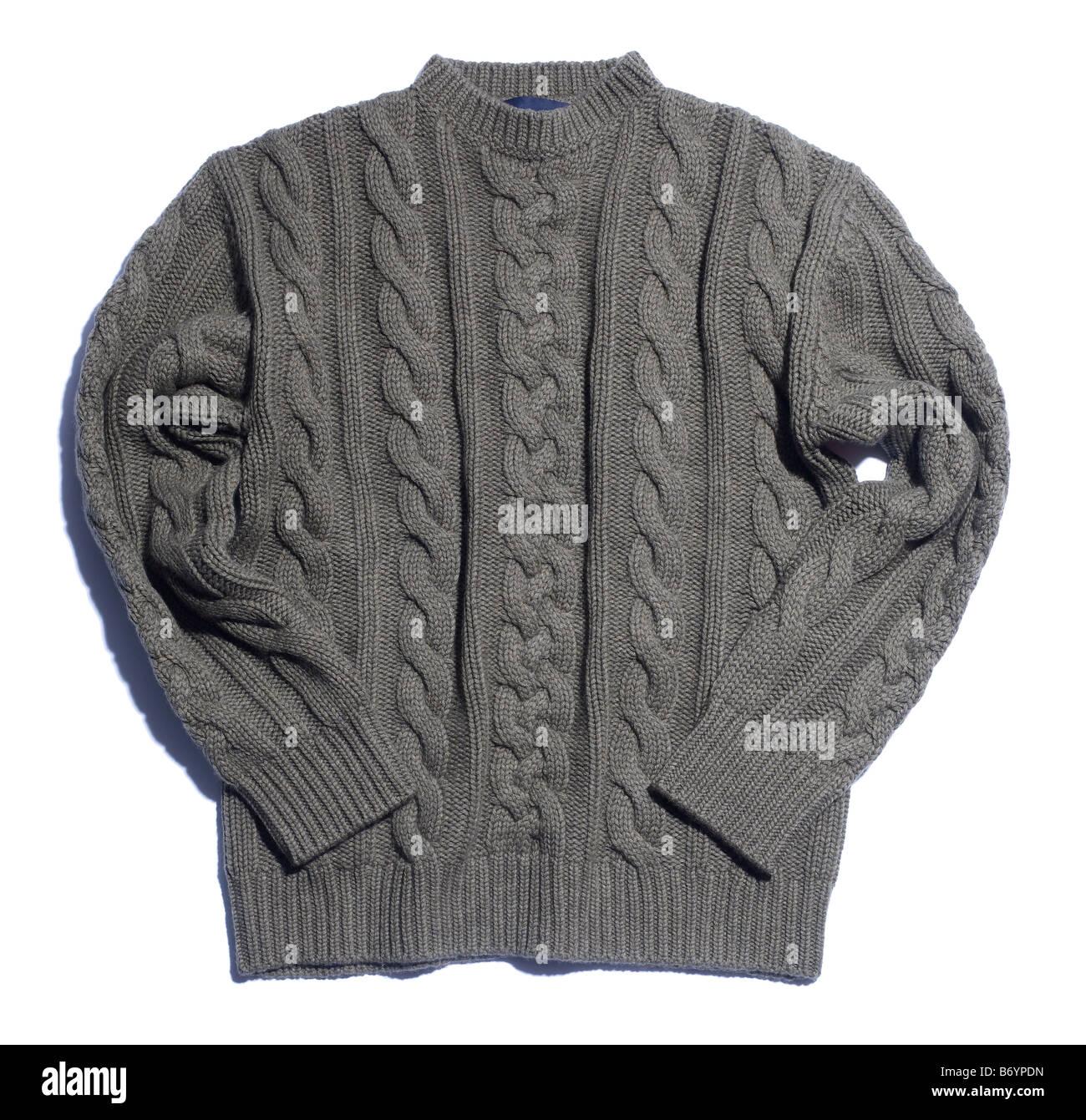 Jersey de lana tejida de cable puente suéter Imagen De Stock