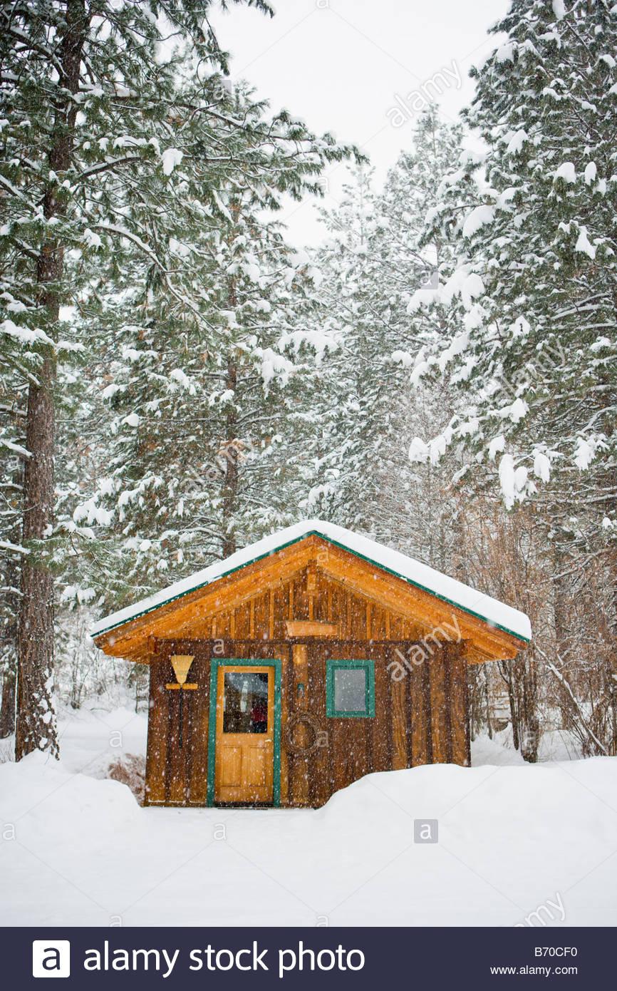 En invierno el hotel Methow Valley, Washington Imagen De Stock