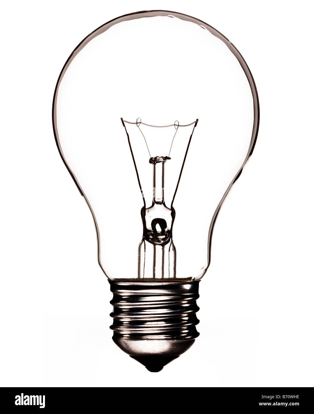 """Bombilla transparente con filamento y Edison tornillo o """"ES"""" el montaje de lámpara Imagen De Stock"""