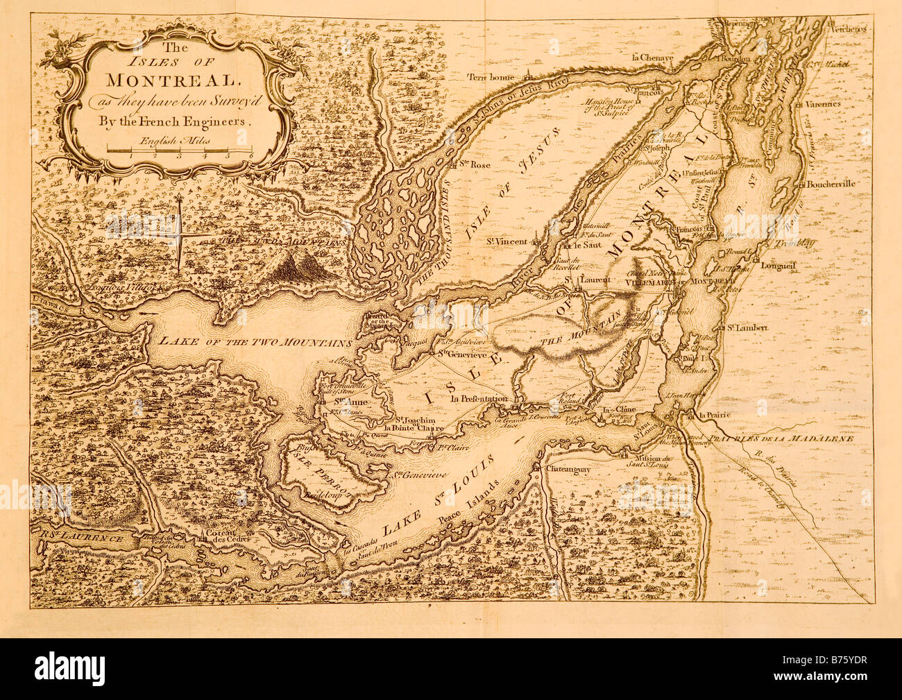 Un mapa impreso en Londres Inglaterra circa 1761 mostrando las zonas circundantes y Montreal en Canadá. Foto de stock