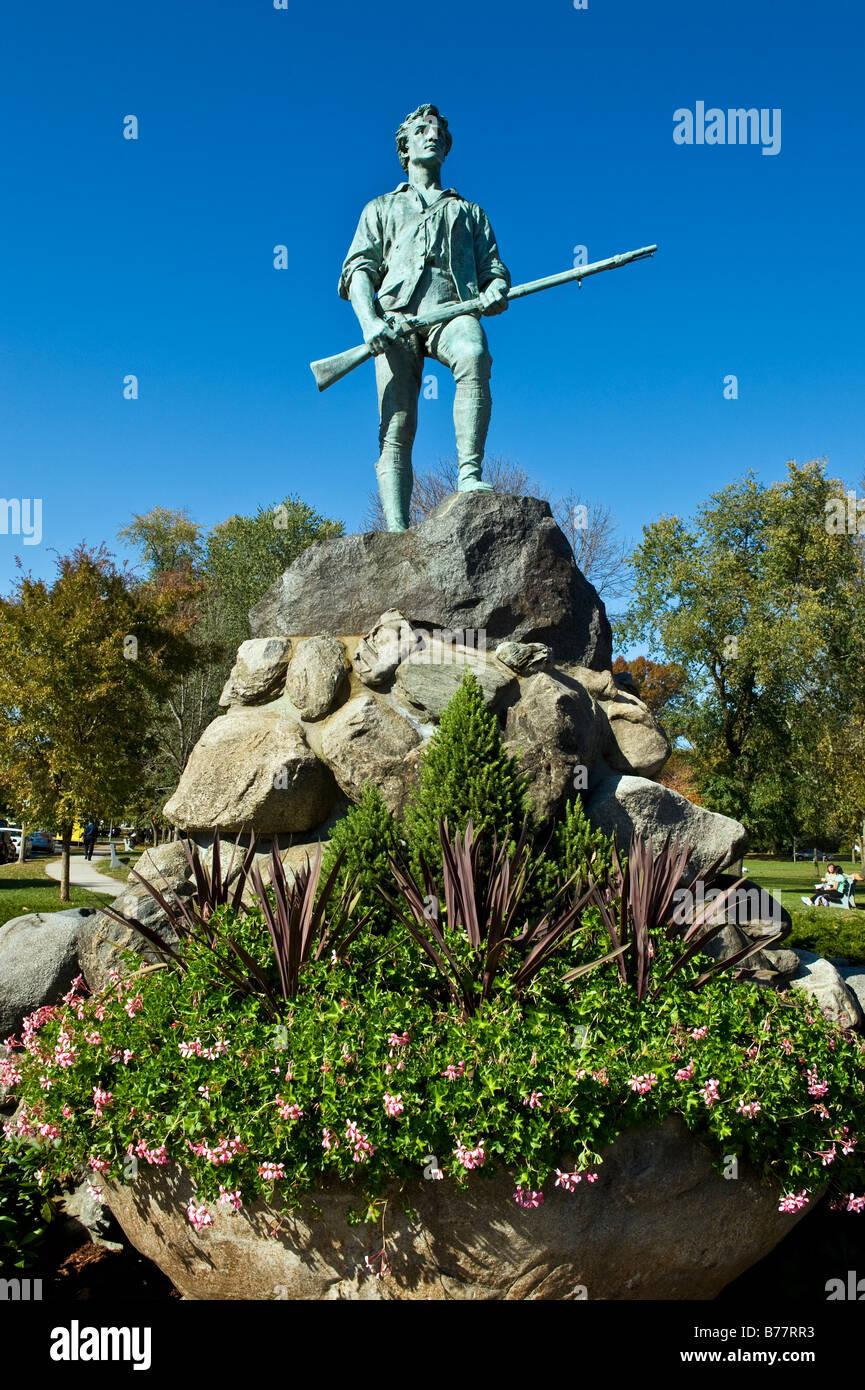 Minute Man Escultura Battle Green, Lexington, MA. Sitio de los primeros disparos de la Revolución Americana. Foto de stock