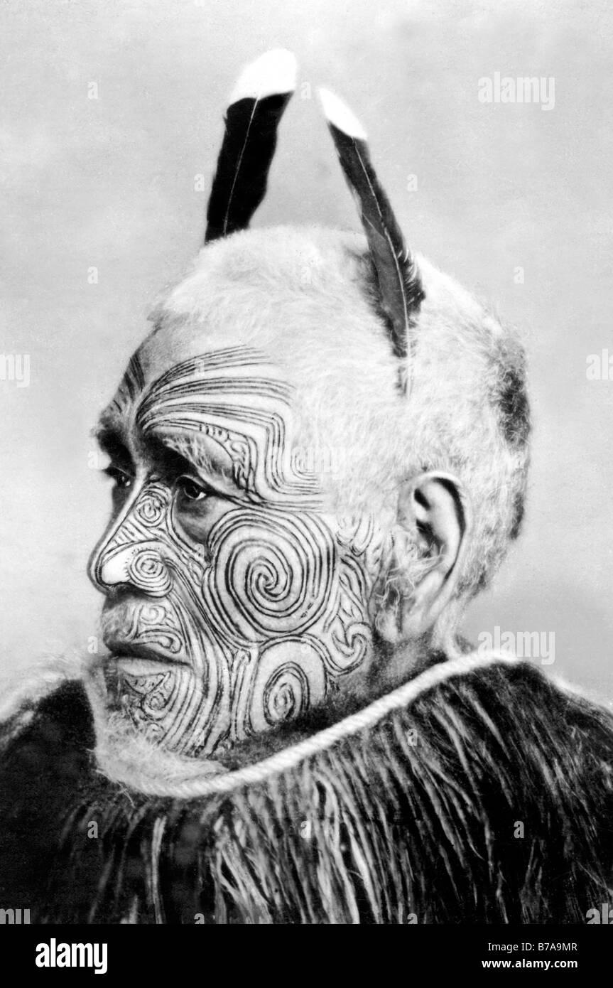 Foto histórica, tatuados, jefe tribal Maori, ca. 1900 Imagen De Stock