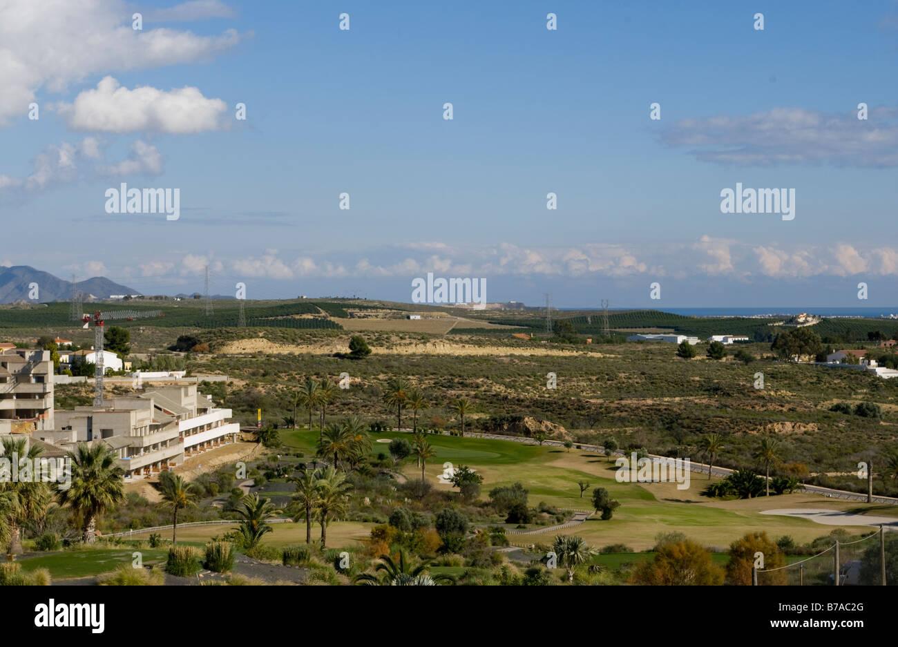 El primer hoyo del campo de golf Valle Del Este Vera Almería España Golf Resorts Foto de stock