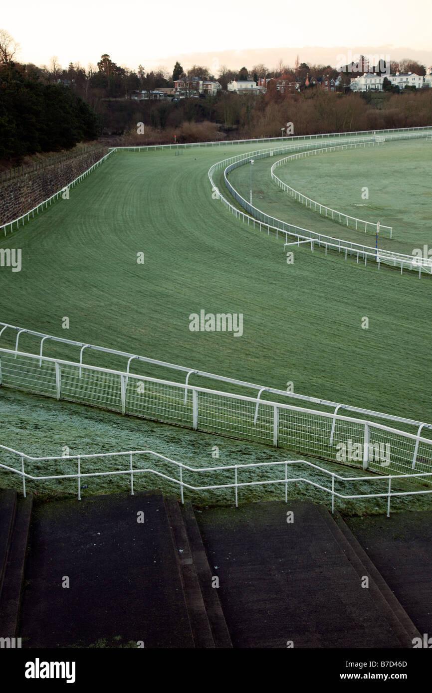 Última curva chester horse Race Course Imagen De Stock