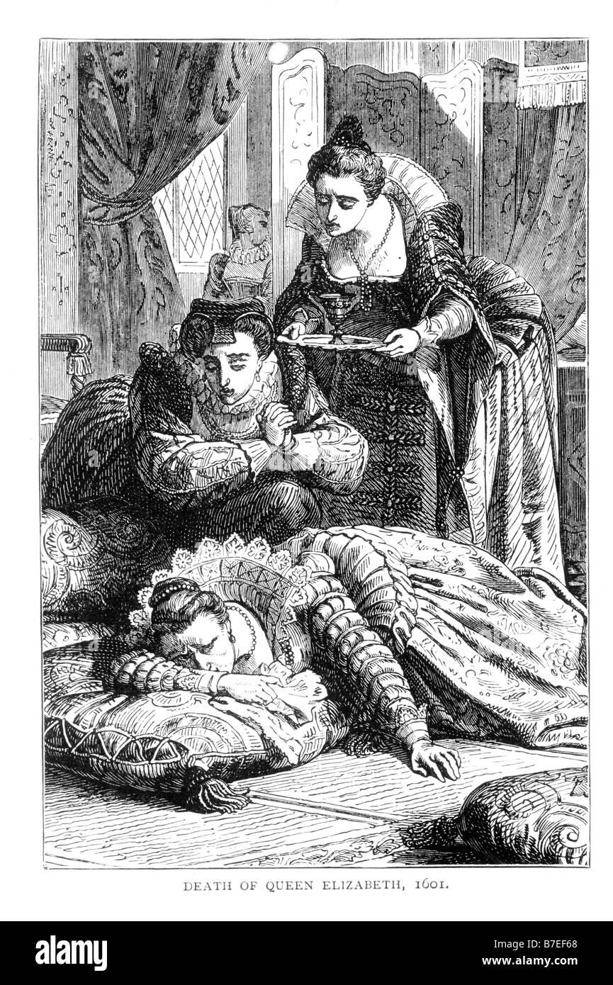 La muerte de la reina Isabel I Ilustración del siglo XIX. Imagen De Stock