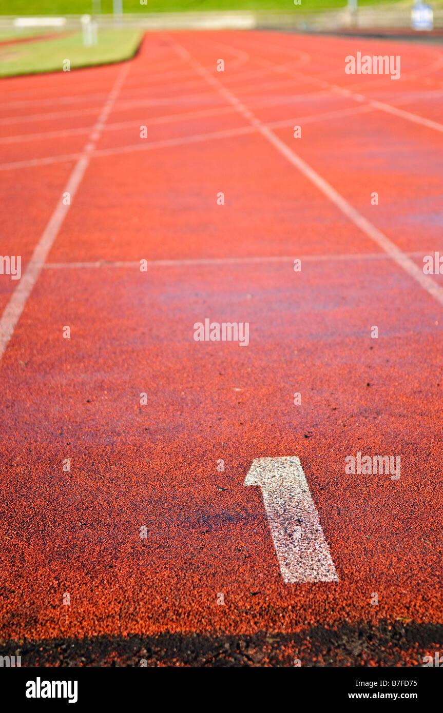 Lane 1 de una pista de atletismo Imagen De Stock