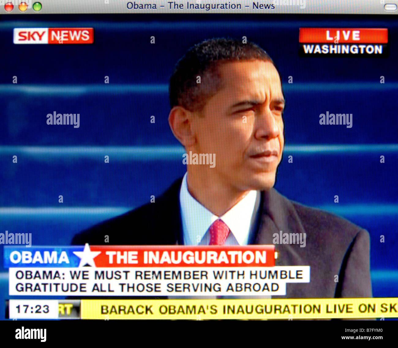 La histórica asunción de Barack Obama el 20 de enero de 2009Foto de stock
