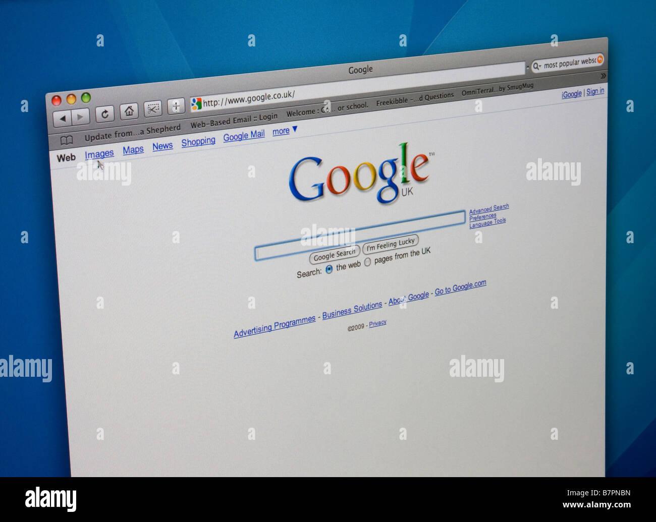 Página de búsqueda de Google homepage. Imagen De Stock