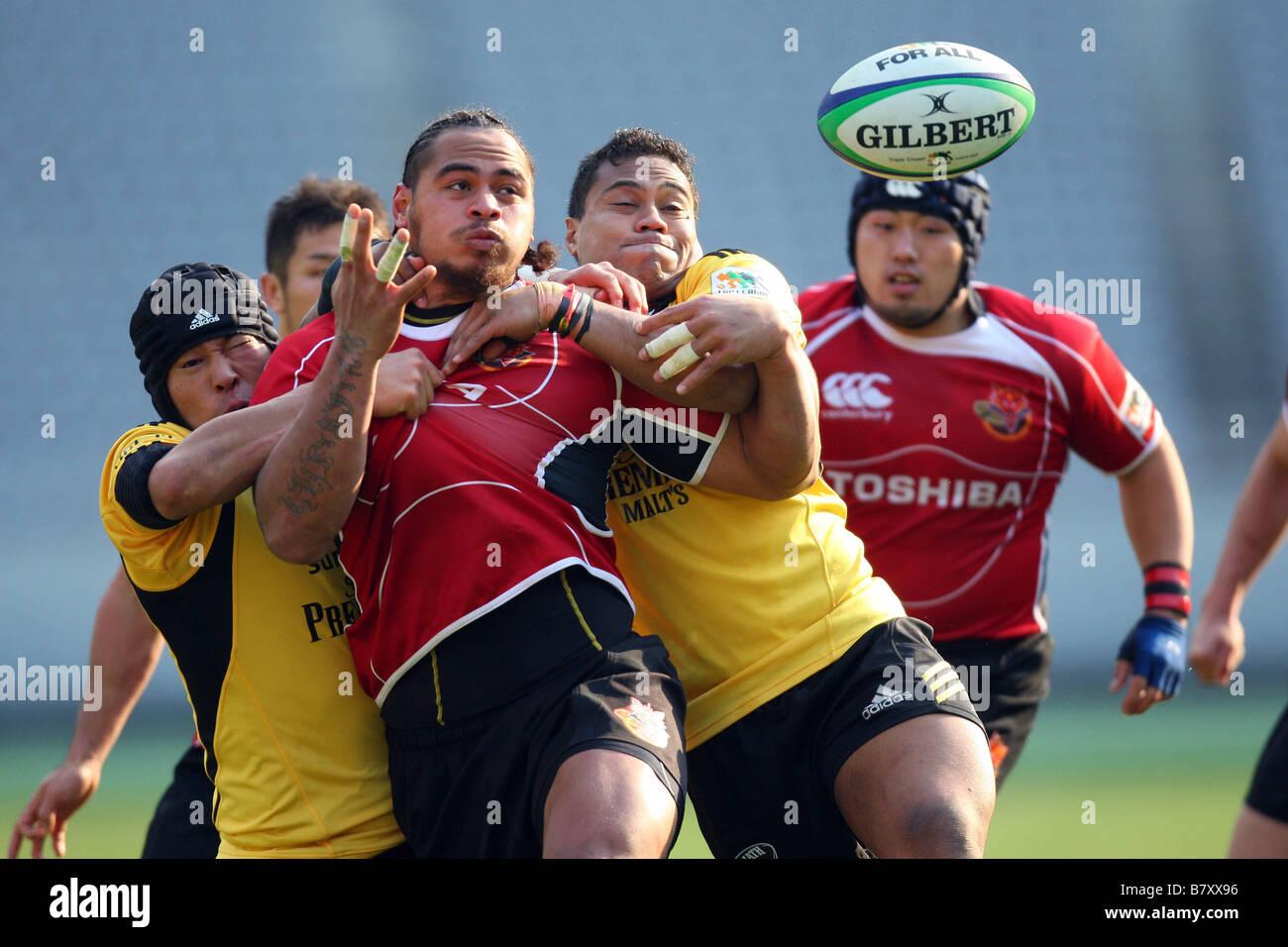 Christian Loamanu TOSHIBA EL 12 DE ENERO DE 2009 Japón Rugby Rugby Top Liga 2008 2009 12nd SUNTORY Sungoliath Imagen De Stock