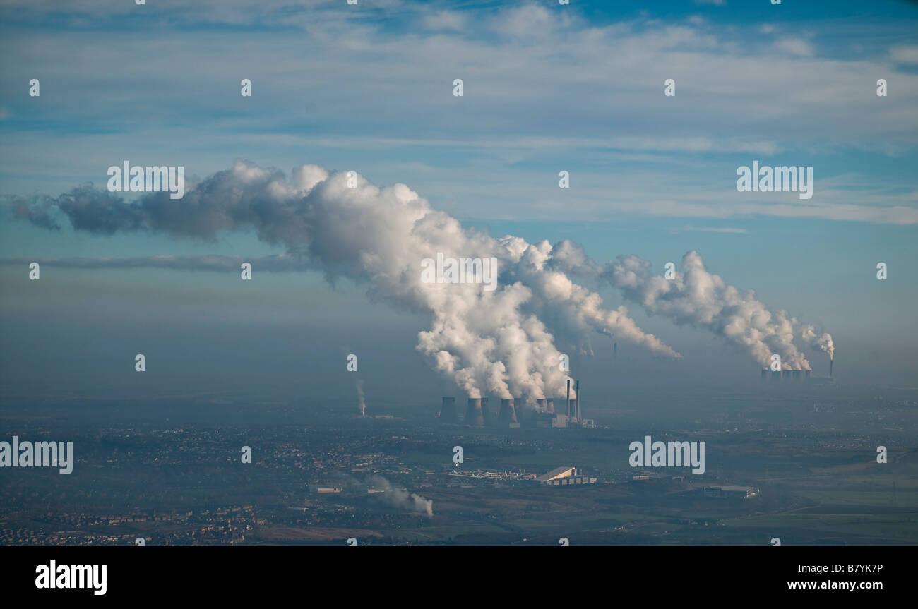 Ferrybridge Eggborough, y estaciones de energía alimentadas de Carbón de Drax, en Yorkshire, en el norte de Inglaterra Foto de stock