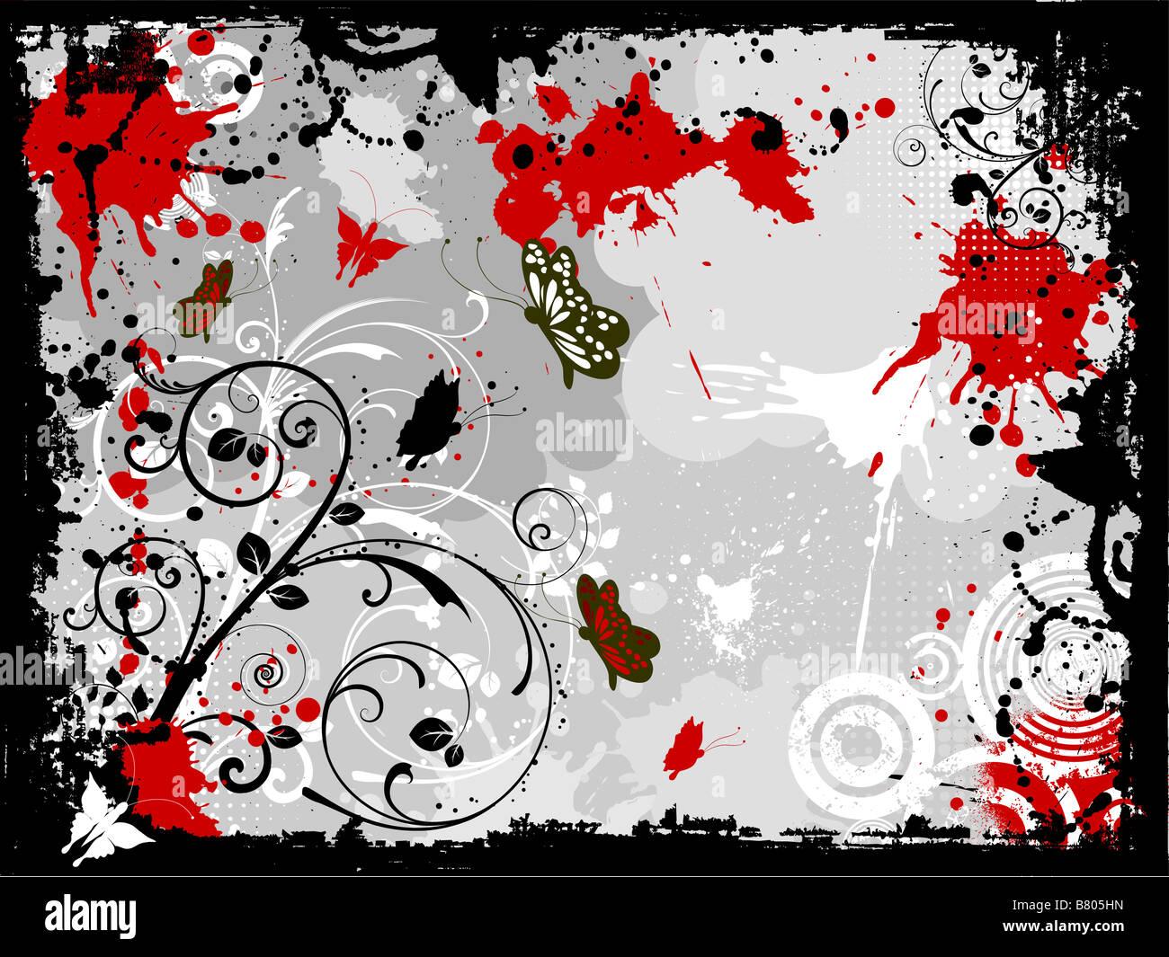 Grunge diseño floral decorativo con mariposas Imagen De Stock
