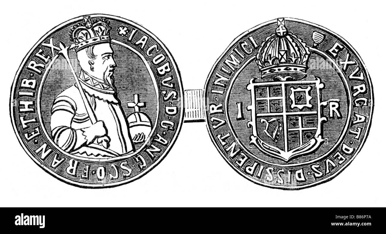Quince Chelín moneda durante el reinado Og rey James I de Inglaterra ilustración Imagen De Stock