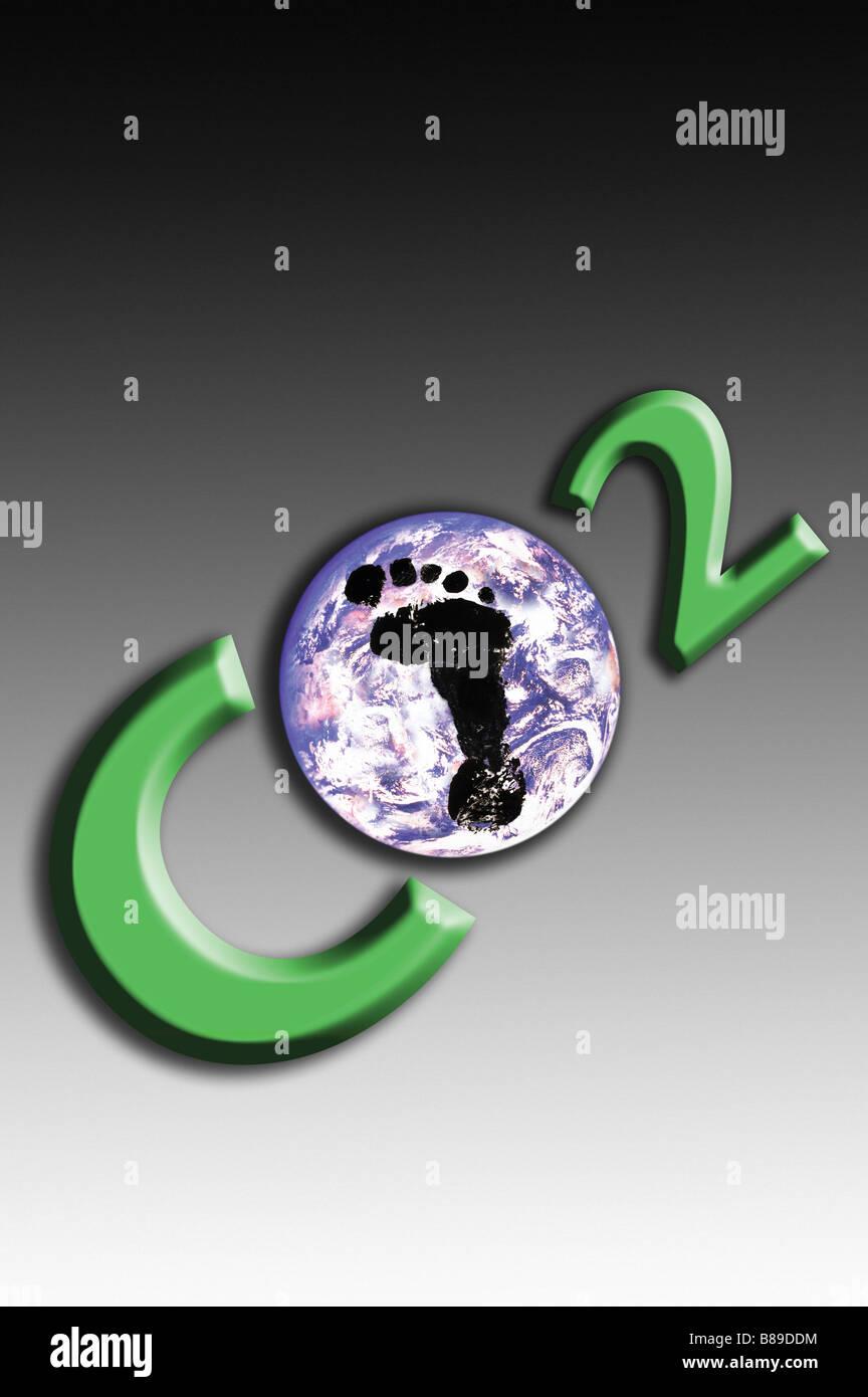La huella de carbono y la masa Imagen De Stock