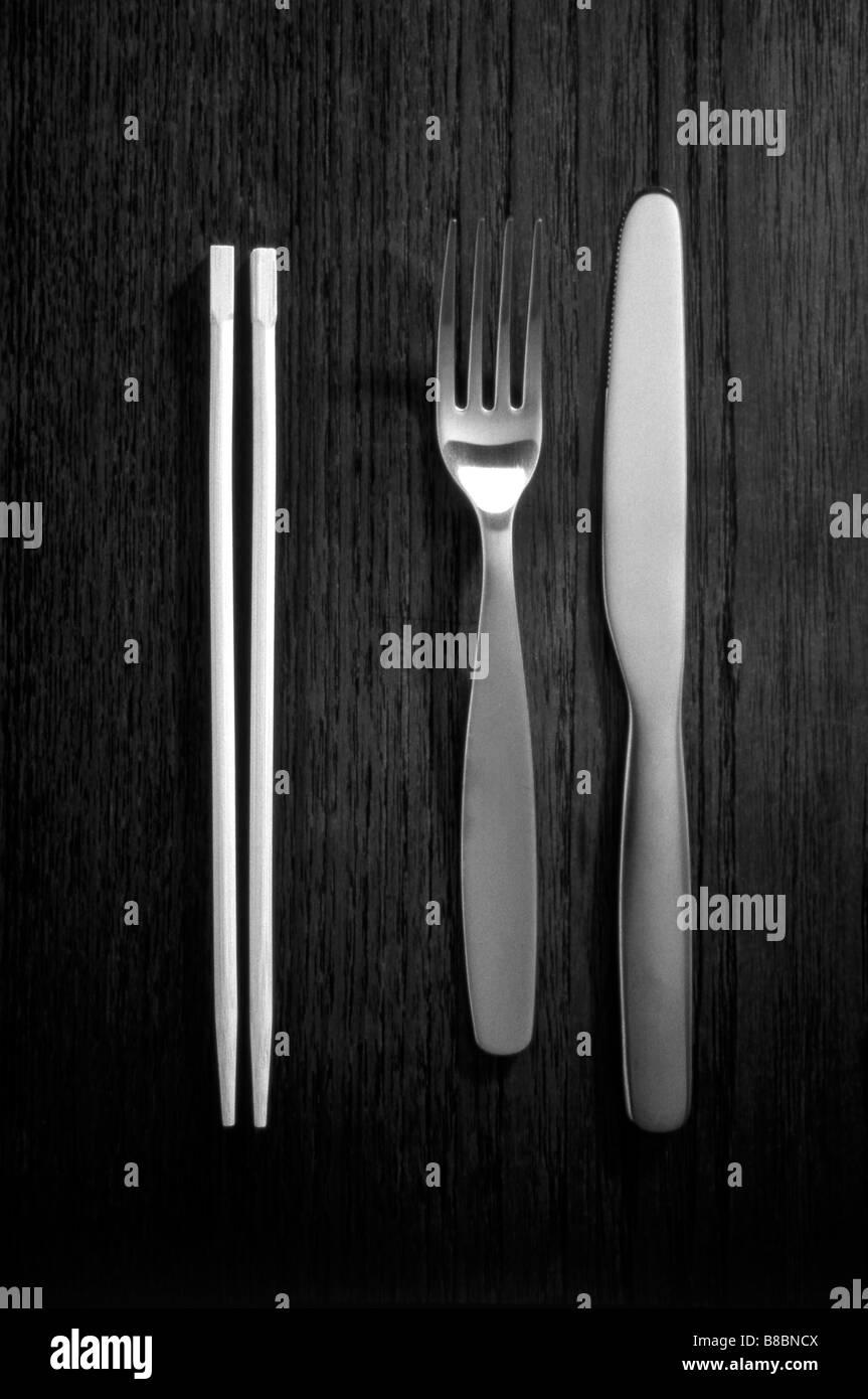 Cubertería Chop Sticks, B/W Imagen De Stock