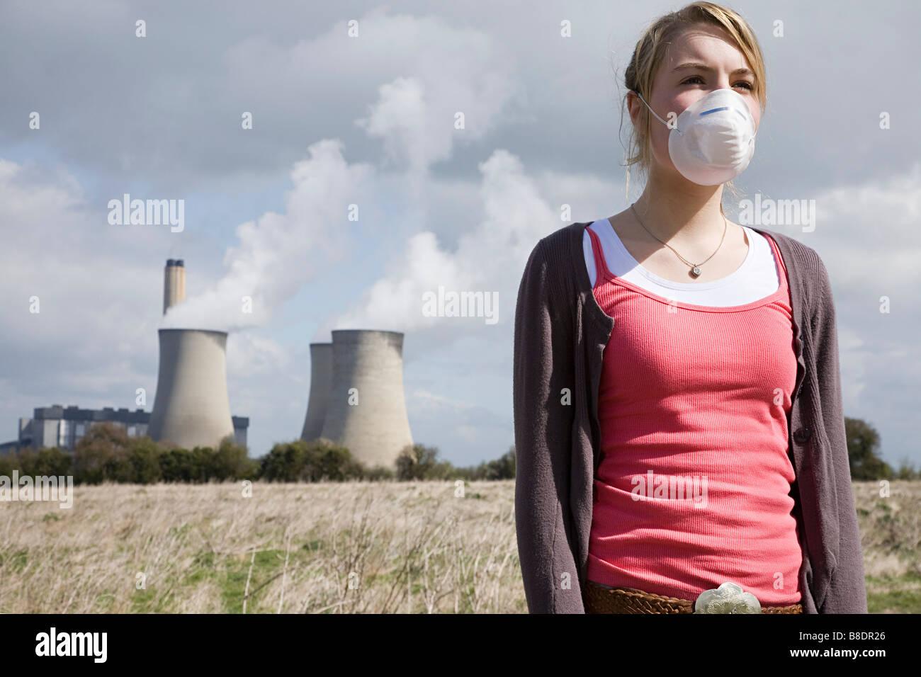 Chica en la máscara de power station Imagen De Stock