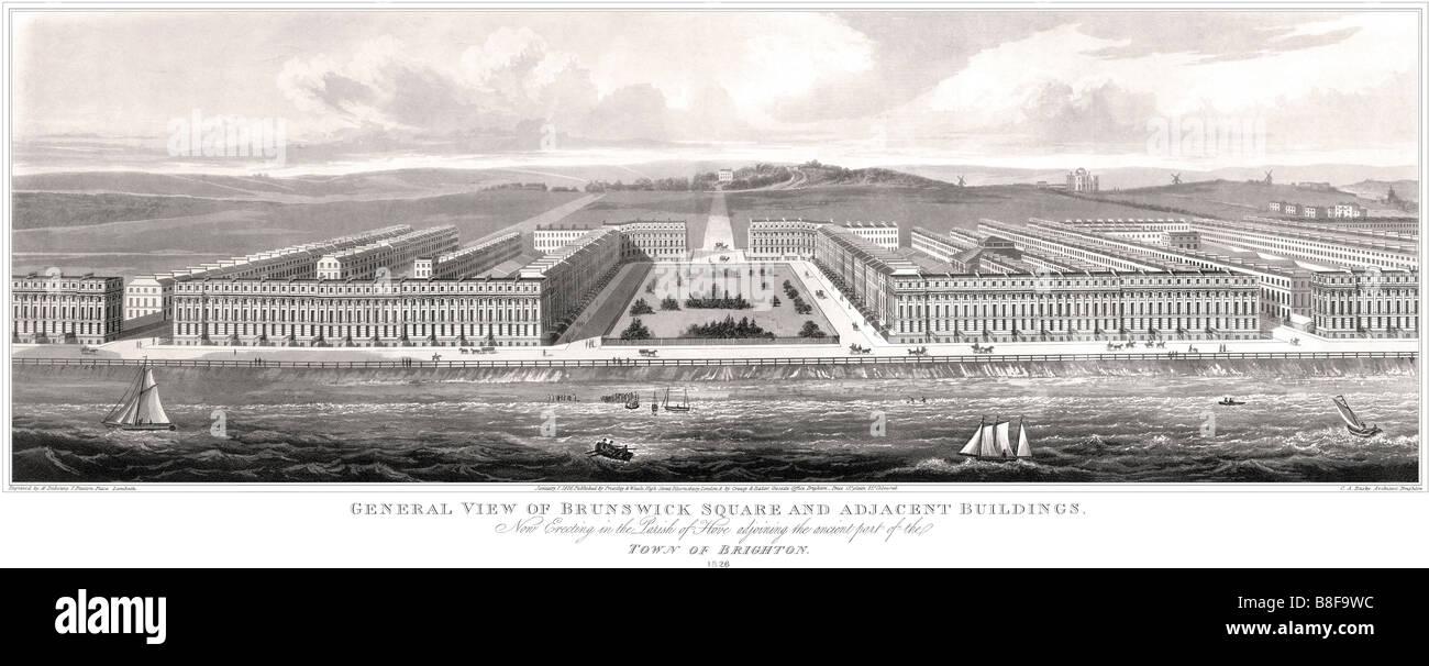 Grabado Original de Brunswick Square y terraza, Hove. 1826. Panorámica. Arquitectura Regency. Brighton and Imagen De Stock