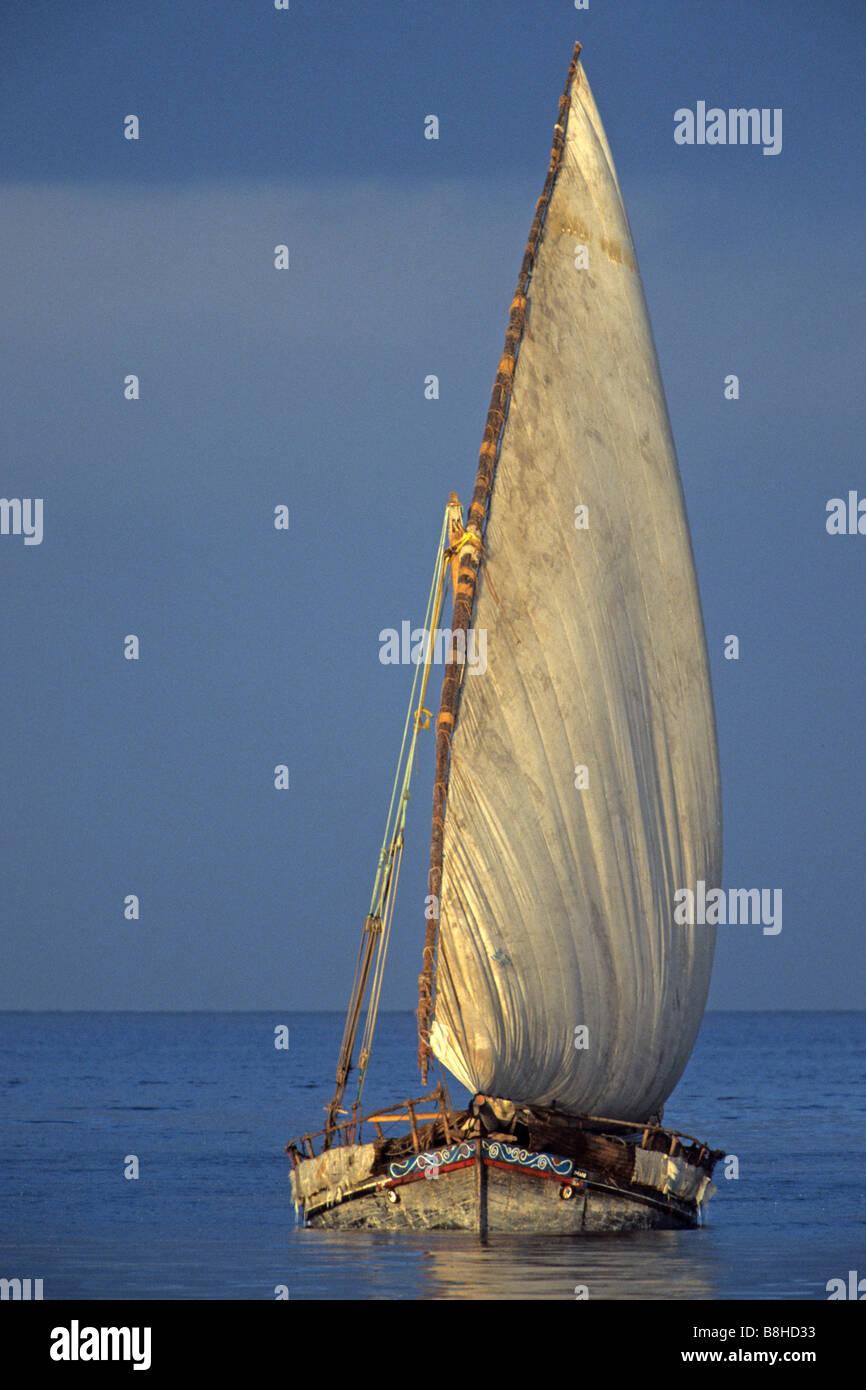 Un dhow árabe tradicional barco velero zanzíbar Tanzania Imagen De Stock