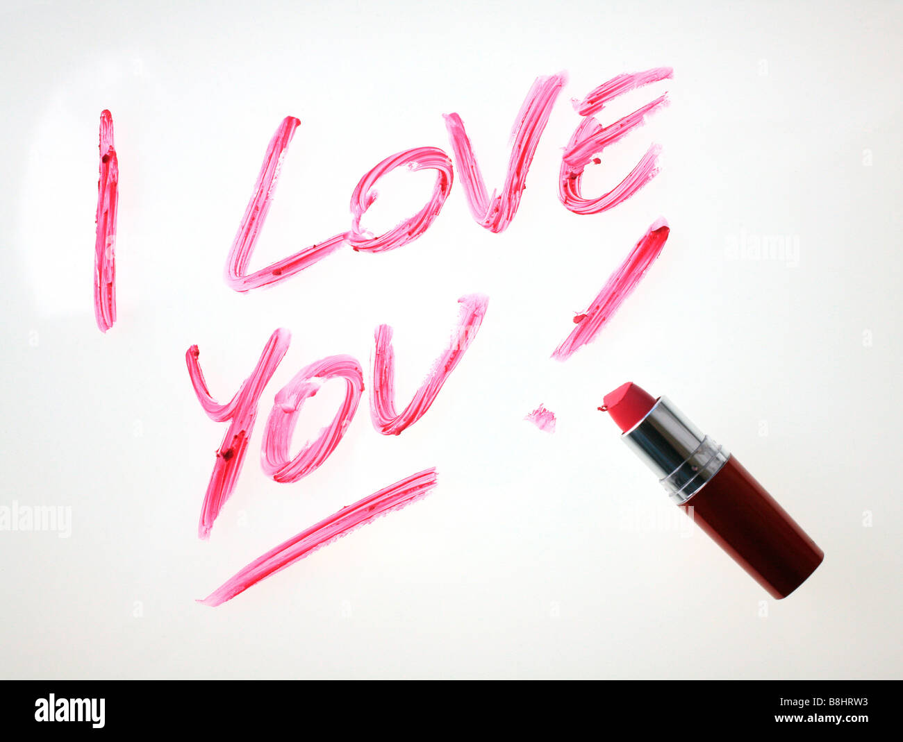 I Love You escritas en lápiz de labios Imagen De Stock