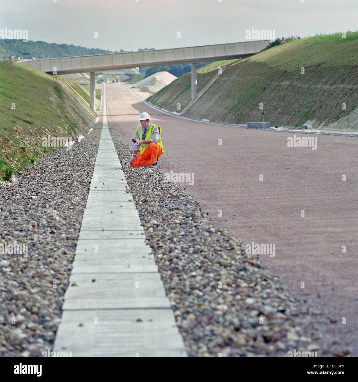 """Terminado el capítulo de """"Channel Tunnel Rail Link con drenaje y puentes instalados antes de tendido de vías de alta velocidad permanente Foto de stock"""