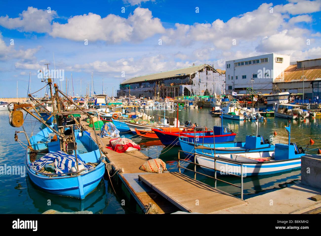Un montón de barcos en el pintoresco puerto de Tel Aviv, Israel Imagen De Stock