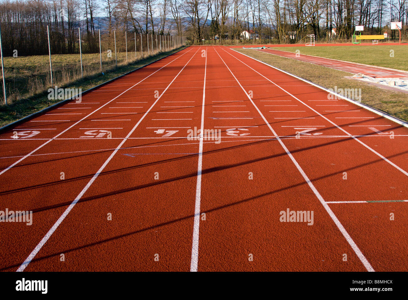 Lane números de pista de atletismo Imagen De Stock