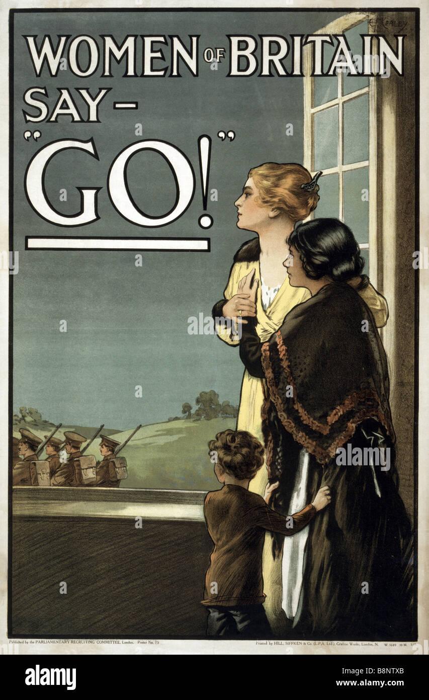 """La Primera Guerra Mundial famoso British reclutar y propaganda poster titulado """"Mujeres de Bretaña decir GO!"""". Foto de stock"""