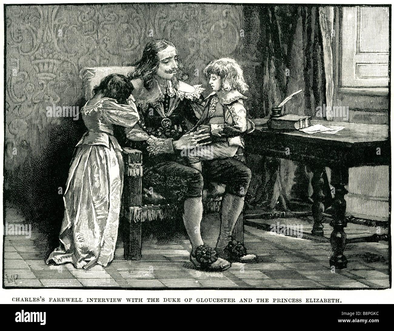 Carlos I entrevista de despedida con el Duque de Gloucester, la princesa Elizabeth adiós royalty real niños Imagen De Stock