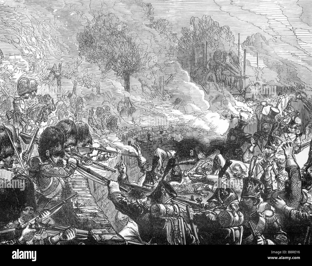 La defensa del castillo de Hougoumont en la batalla de Waterloo 1815 Imagen De Stock