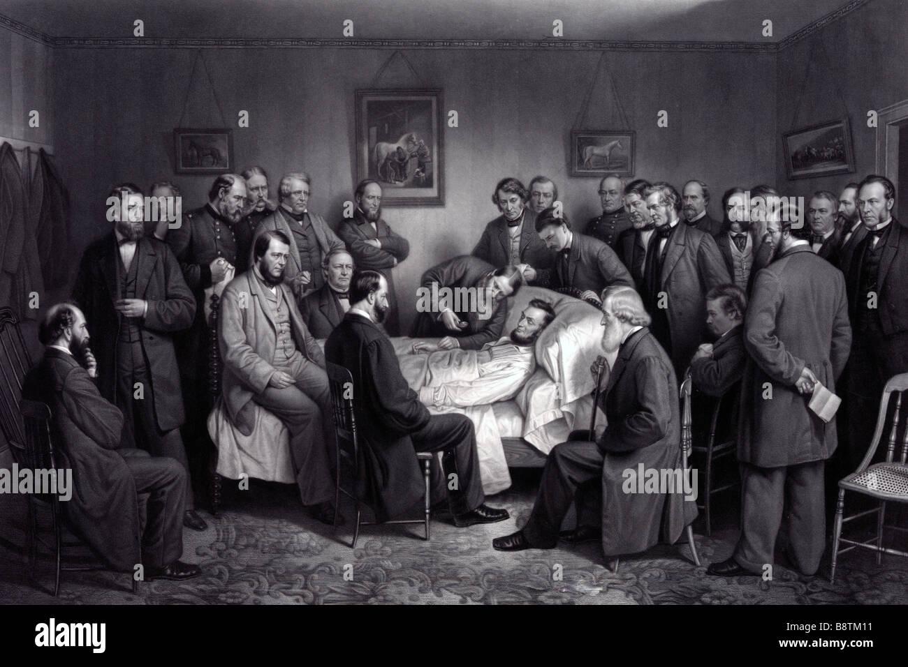 La muerte de Lincoln - Imprimir mostrando Abraham Lincoln en su lecho de muerte Foto de stock