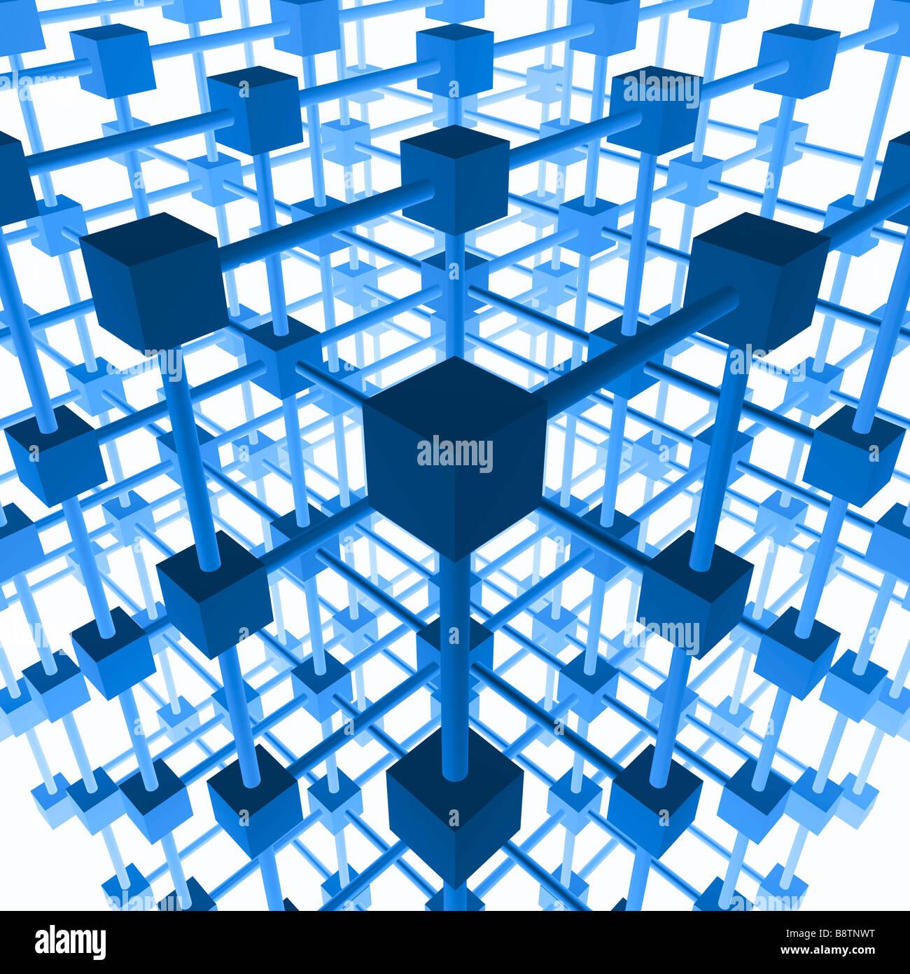 3D la estructura de red. Imagen De Stock