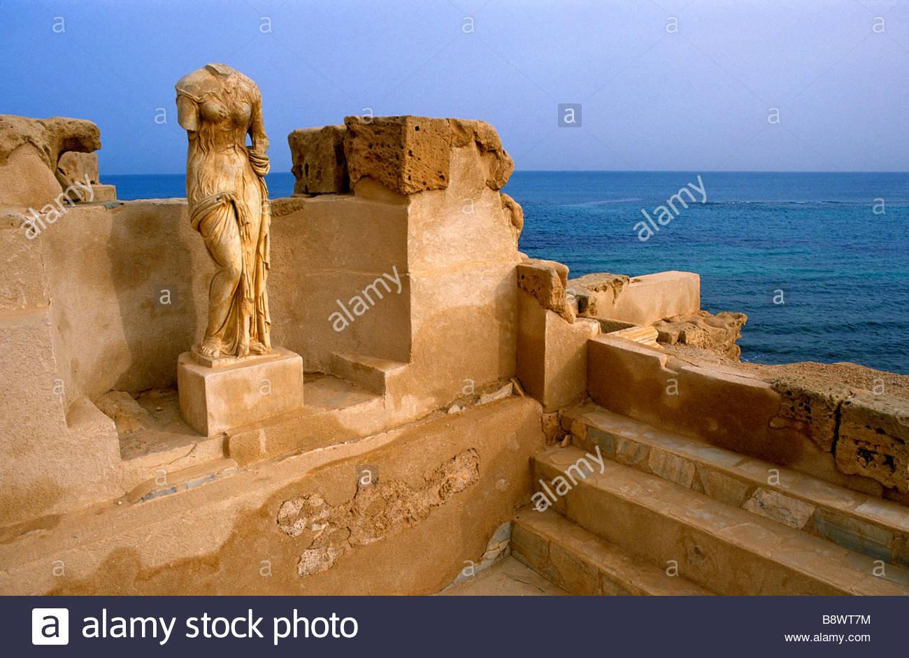 Sitio arqueológico, Sabratha, Libia, África Foto de stock