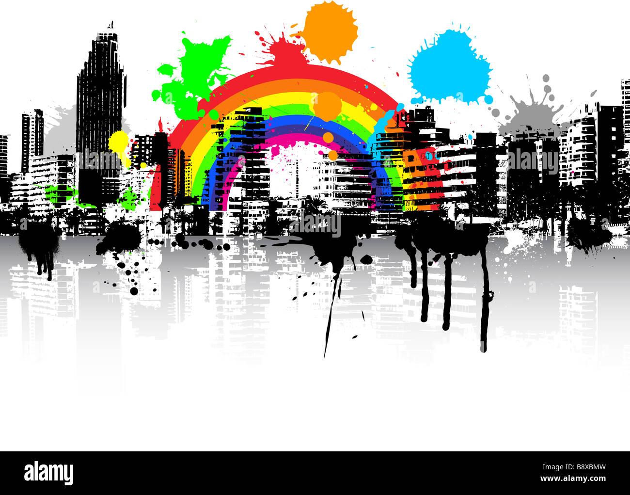 Estilo abstracto urbano escena Grunge antecedentes con arco iris Imagen De Stock