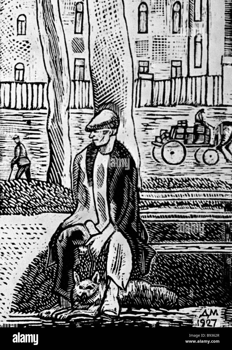 Dmitry Mitrokhin 1883 1973 Un hombre con un perro Imprimir 1927 Foto de stock