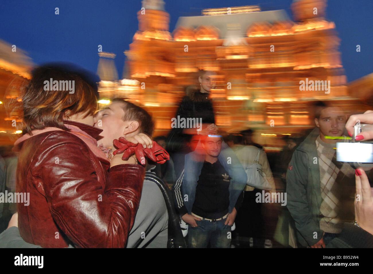 La ciudad de Moscú besos evento Plaza Manezhnaya Moscú Imagen De Stock