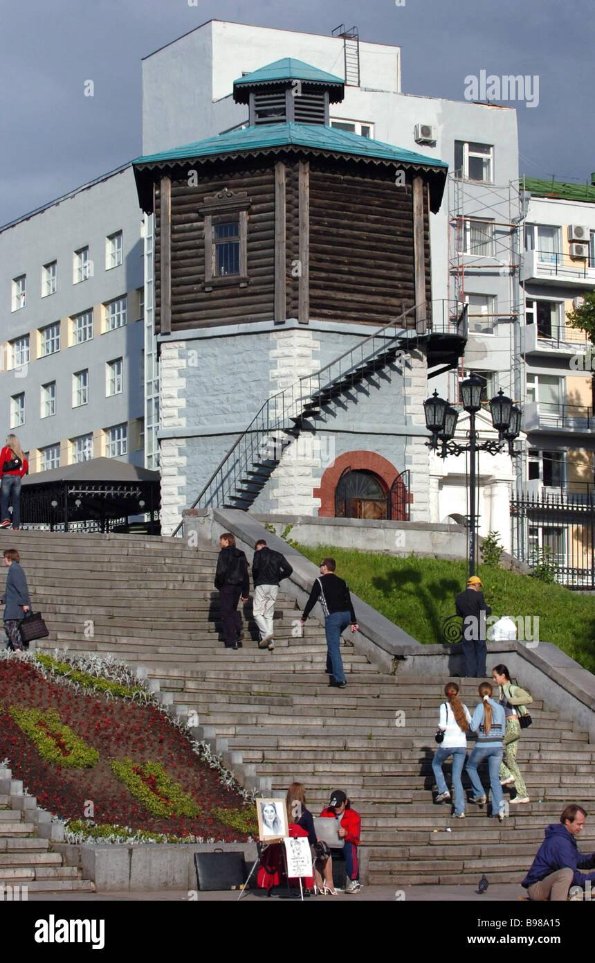 La plaza histórica de Ekaterimburgo. Imagen De Stock
