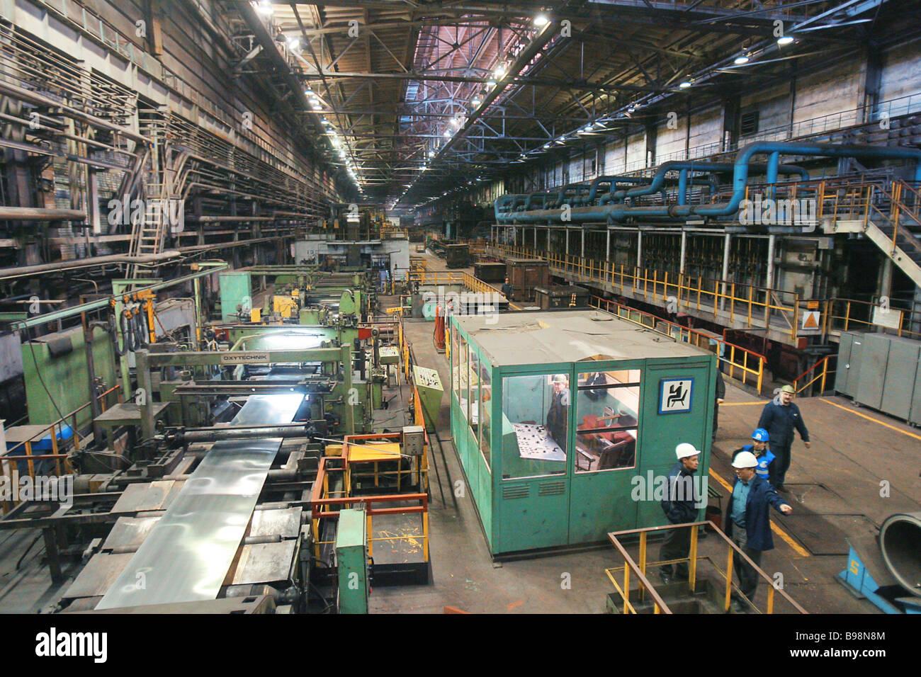 El enfriamiento continuo y línea de decapado en Chelyabinsk Planta metalúrgica Imagen De Stock