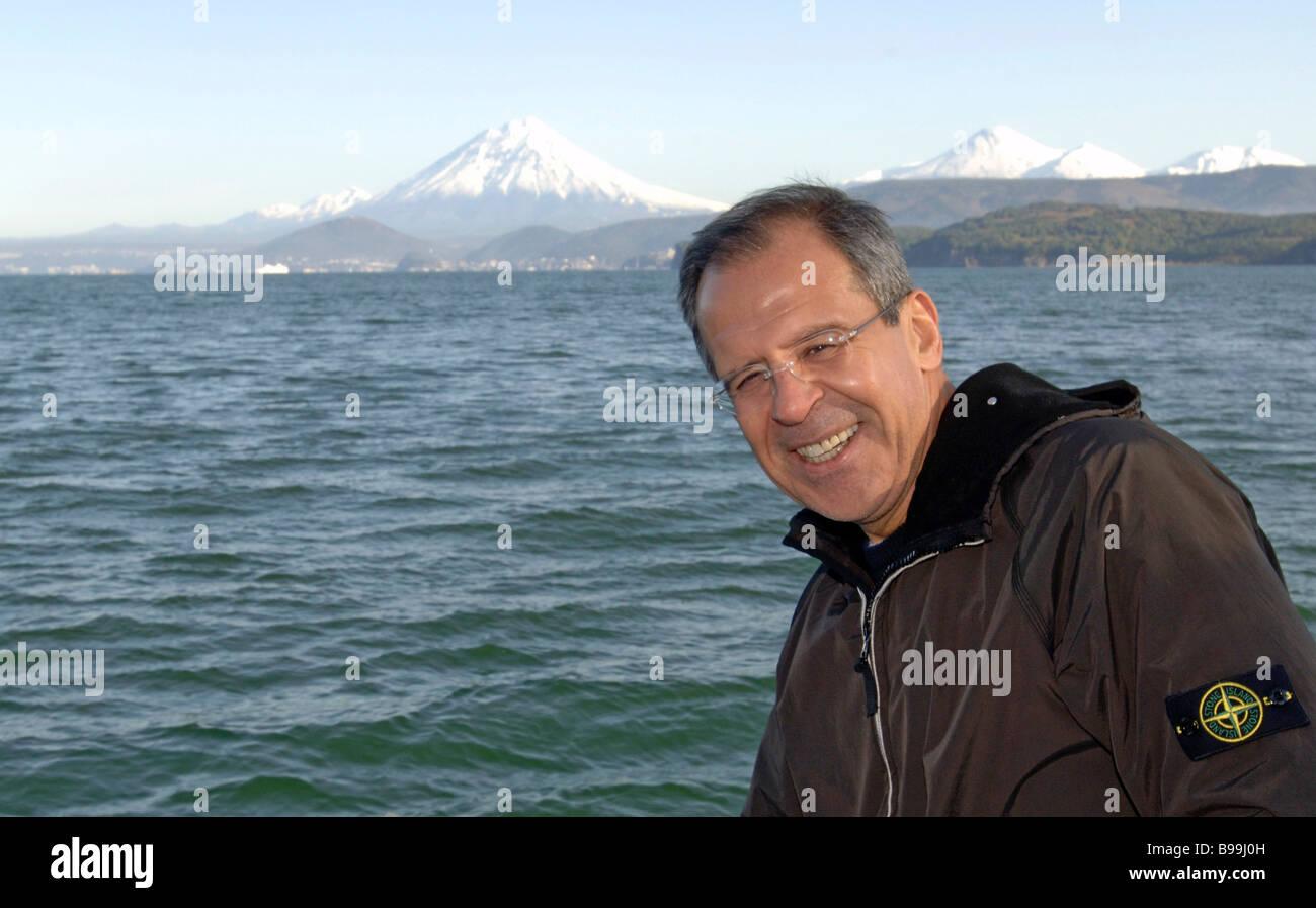 El Ministro de Relaciones Exteriores Sergei Lavrov durante su viaje a Kamchatka Imagen De Stock