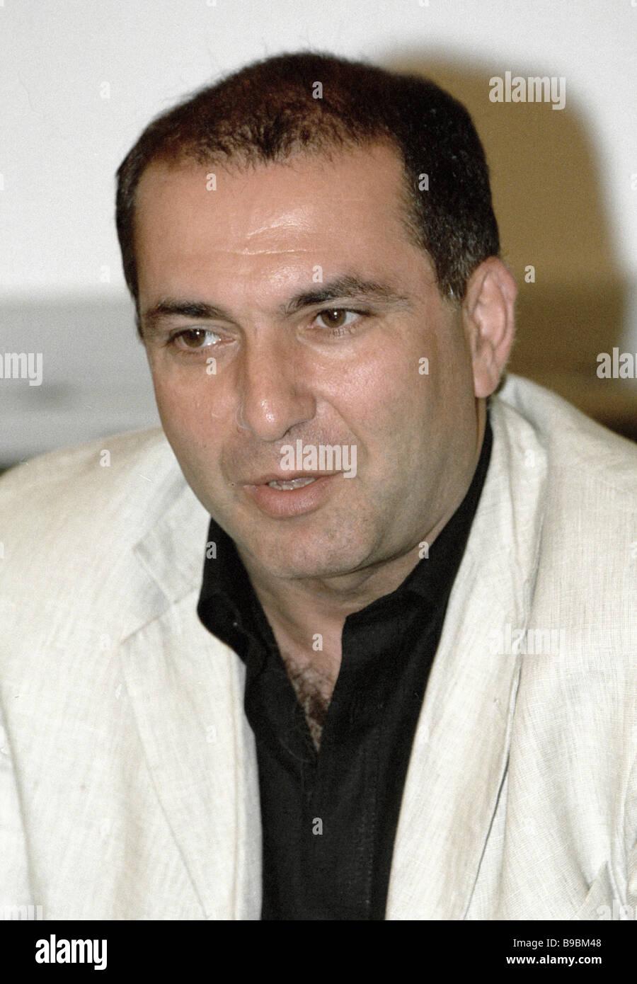 Jefe de la asociación de bancos rusos Garegin Tosunyan en la conferencia de prensa Imagen De Stock