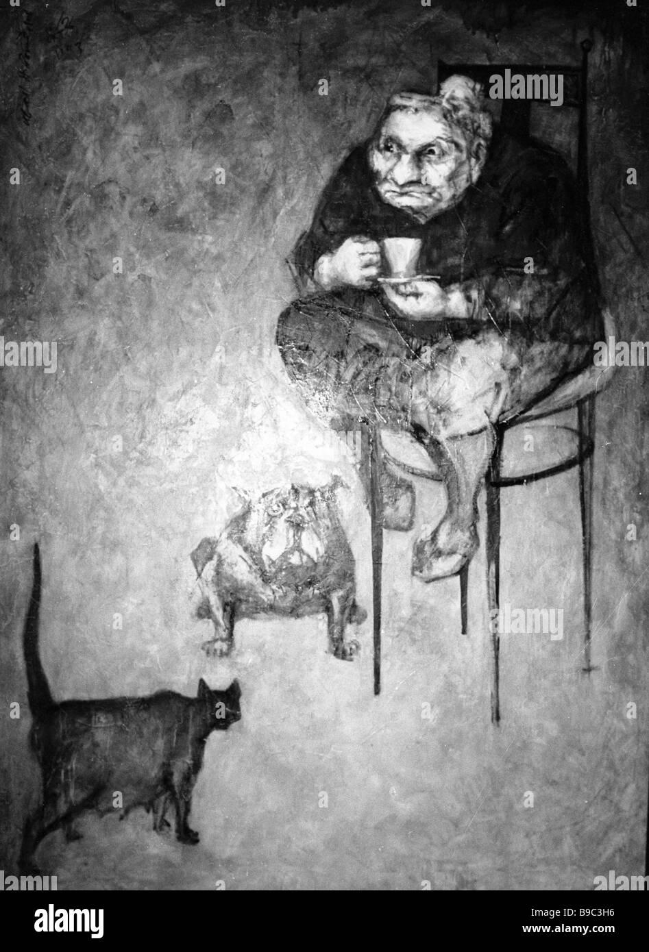 Reproducción de pintura tres criaturas por Iván Novozhenov Foto de stock
