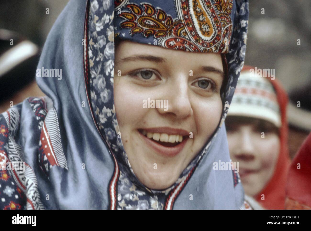 Aldea Palekh folklore cantante de la compañía Imagen De Stock