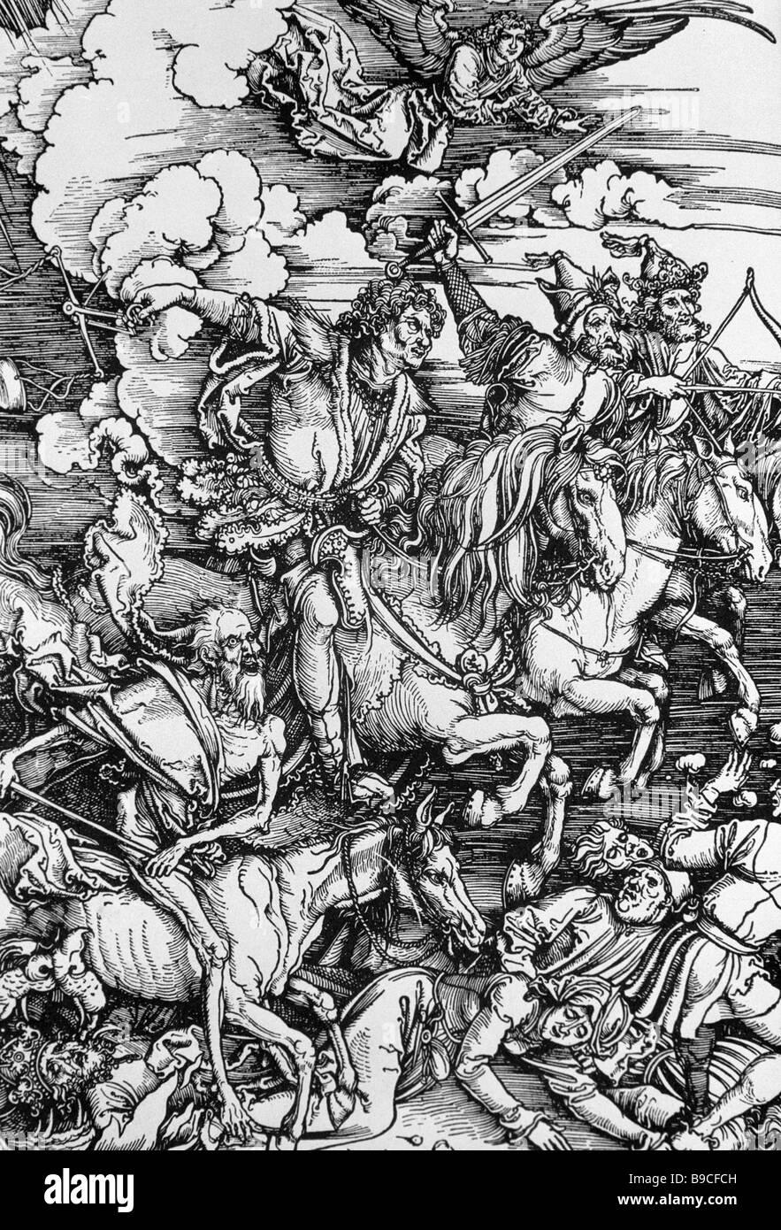 Reproducción de Durer Albreht s dibujar el cuarto jinete del ...