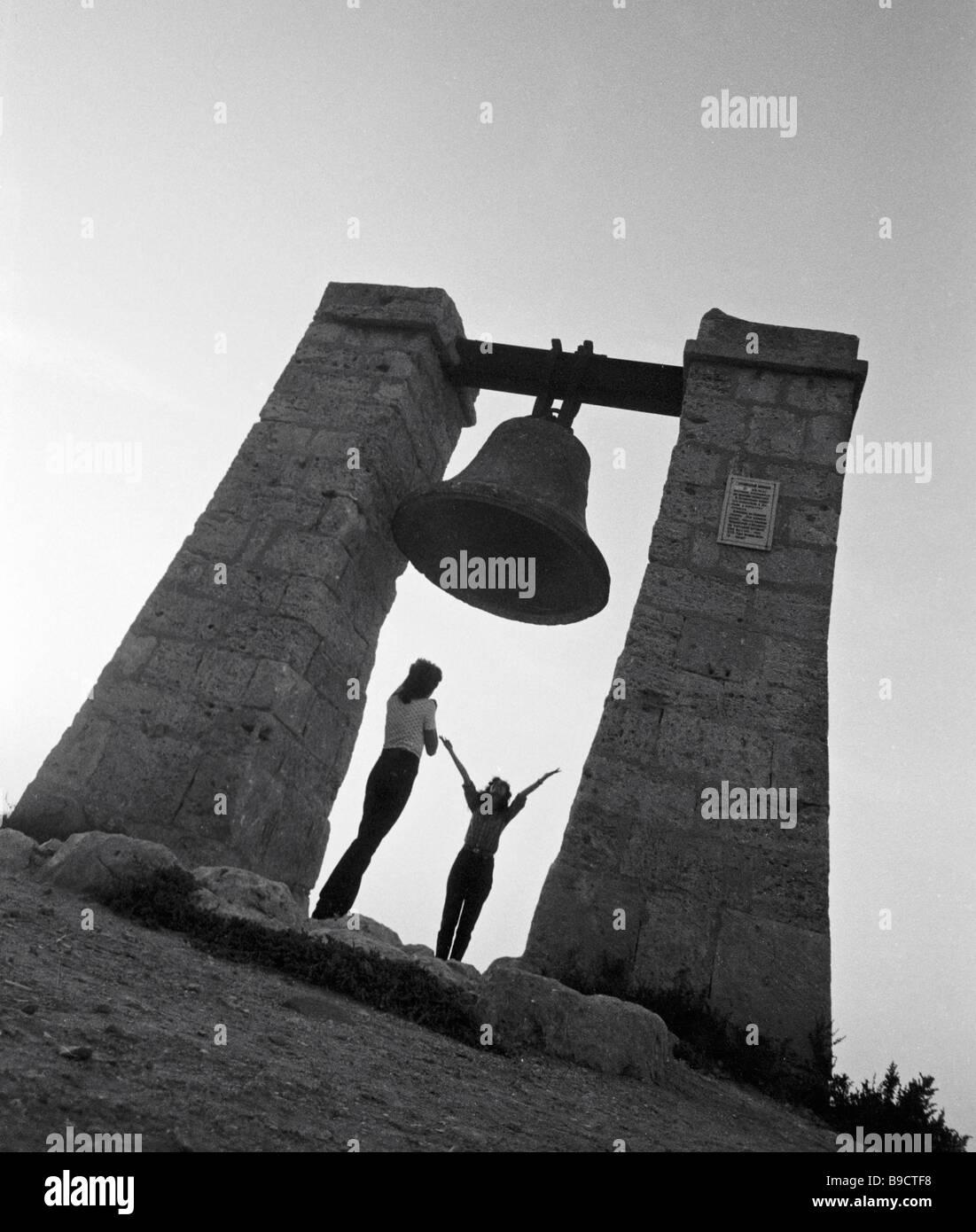 La campana de Khersones un siglo extraño punto de referencia para los buques acercando a Sebastopol Imagen De Stock